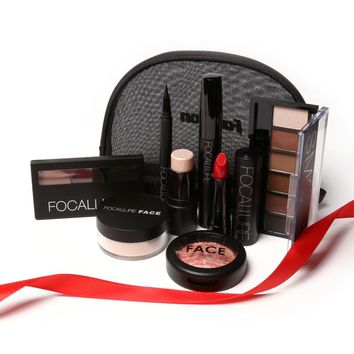8 PCS Matte Lipstick With Makeup Set