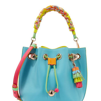 Sophia Webster Romy Mini Leather Bucket Bag, Aqua