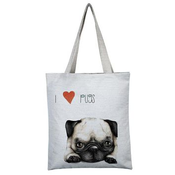 Canvas tote bag The Cool Pug