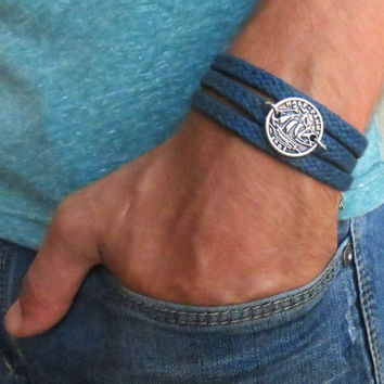 Men's Bracelet - Blue Fabric Bracelet With Gold Plated Boat Coin - Men's Jewelry - Nautical Jewelry - Coin Jewelry - Gift for Him
