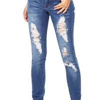 Shred Skip Mid-Rise Jeans