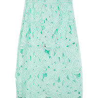 Crochet Floral Lace Midi Skirt in Pastel Green