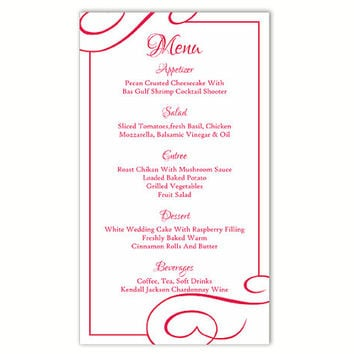 Wedding Menu Template DIY Menu Card Template Editable Text Word File Instant Download Fuchsia Hot Pink Menu Template Printable Menu 4x7inch