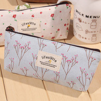 Cute Kawaii Floral Flower Canvas Zipper Pencil Cases Lovely Fabric Flower Tree Pen Bags School Supplies 1151