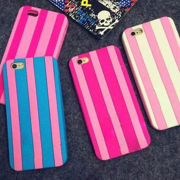 2016 Luxury Brand Stripe Victoria s Secret Pink Soft Silicone Case For iPhone 5 5s SE 5C 6 6S 6 plus 7g 7plus Capa Fundas Cover