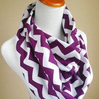 Deep Royally purple chevron infinity jersey knit loop scarf