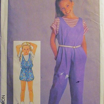 SALE Uncut 1980's Simplicity Sewing Pattern, 6862! 10-12-14 Girls/Kids/Children Jumper/Jumpsuits/Pull On/Stretch Knits/Overalls/Coveralls/Sh