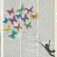Boy fly with butterflies on Upcycle Vintage Page Book Print Art Print Dictionary Print Collage Print