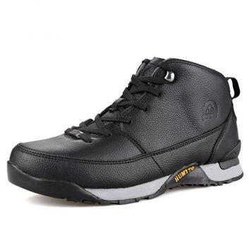 Hiking Shoes Men Lace-up Winter Outdoor Sneakers Genuine Leather Climbing Boots Breathable Sport Hunting Mountain