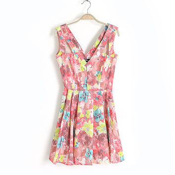 Summer Vintage Floral Print Sleeveless Spaghetti Strap Women's Fashion One Piece Dress [4917814916]