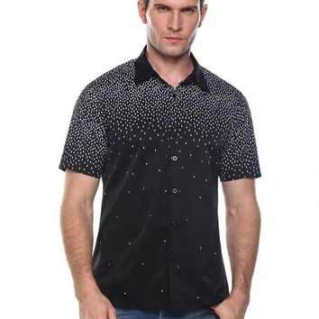 Black Men's Casual Turn Down Collar Short Sleeve Print Button Shirt