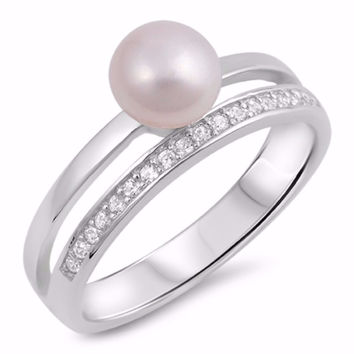 Sterling Silver CZ Cultured Pearl Simulated Diamond Two Bar Ring