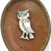 Owl Brooch. Navajo Hand Stamped Sterling Silver Bird, Turquoise Cabochon Eyes. Southwestern Vintage Native American Jewelry