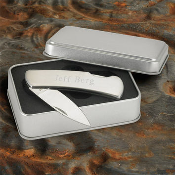 Personalized Stainless Steel Lock-Back Knife - Groomsmen Gift - Best Man Gift - Fathers Day Gift