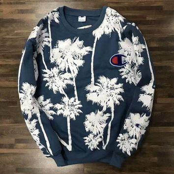 Gotopfashion Champion Women Men Casual Coconut Tree Print Long Sleeve Round Collar Velvet Pullover Top Sweater