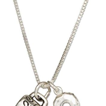 "Sterling Silver 18"" Coffee Break Coffee Mug And Donut Necklace"