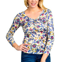 Floral Print Knit Henley Top