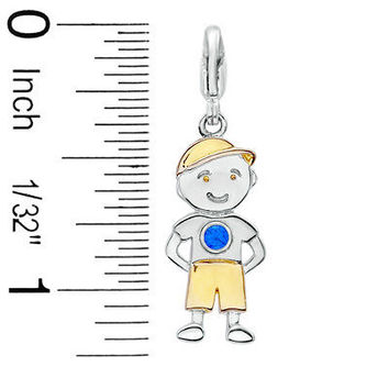 Birthstone Little Boy Charm in 14K TwoTone Sterling by NaomisCo2