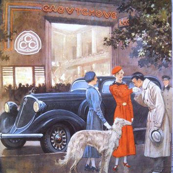 Automobiles Studebaker, advertising poster, original art deco ad, car poster, French magazine 1934