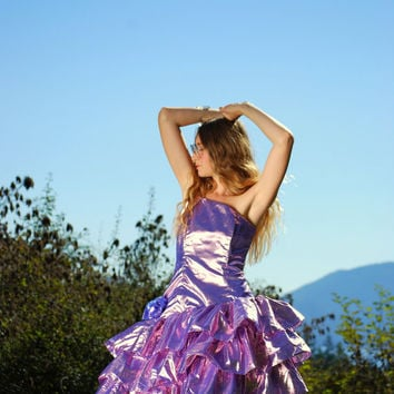80s Metallic Party Dress, Rhinestone One Shoulder Dress, Ruffled Tulle Skirt Mini Peplum Dress Purple Pink Birthday Barbie Dress MEDIUM