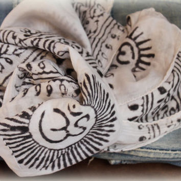 Black and White One Long cotton Unisex scarf Indian wooden Block print scarf Om Ganesh print scarf  by Inali