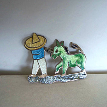 Vintage Sterling Silver Guilloche Brooch Sombrero Man Donkey Mexican Enamel Signed JF