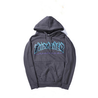 Thrasher Magazine Flame Logo Dark Gray Hoodie