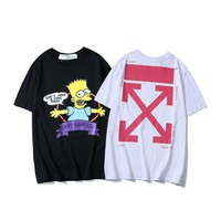 OFF WHITE 2019 summer Europe and the United States tide brand new T-shirt three-dimensional embroidery cartoon doll pattern T men and women cotton half sleeve tee