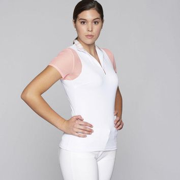 White w Melon Paulo Alto Zip Short Sleeve Le Fash