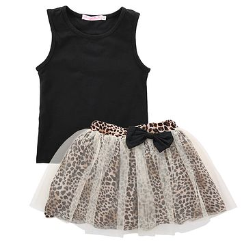 Top Kid Baby Girl Sleeveless Round Collar Top Lace Dress 2Pcs Suit Outfit set CA Enfant kIds Children Girls Clothing Dresses
