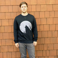 Howling Wolf Silhouette + Full Moon // Cactus Southwest Wildlife Minimalist // Mens Lightweight Crewneck Sweatshirt Jacket Sweater