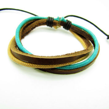 Soft Leather and cotton ropes Woven Women Leather Cuff Bracelet, Women Ropes Bracelet 1205A