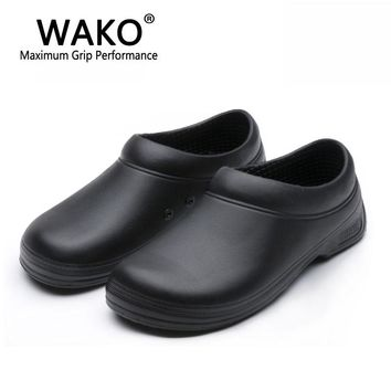WAKO Male Chef Shoes Men Sandals for Kitchen Workers Super Anti-skid Non Slipping Shoes Black Cook Shoes Safety Clogs Size 36-45