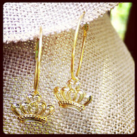 Beautiful gold crown pageant hoop earrings by QueenCityConceptions