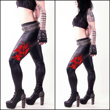 Death Pants - Red Devil WETLOOK Leggings Gothic Heavymetal Deathrock Blackmetal Gothicleggings Gothicpants Tights fauxleather Hot Sexy