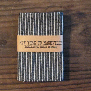 Pocket Square Handcrafted Men's Hickory Stripe Blue Railroad Canvas White Stripes