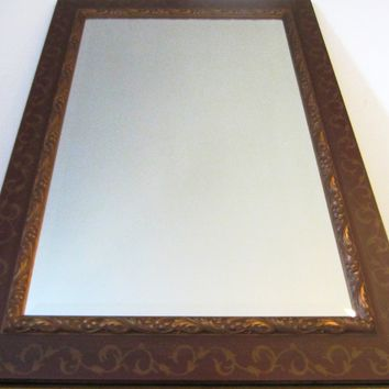 Rectangle Beveled Mirror Brown Gilt Wood Contemporary Wall Decor