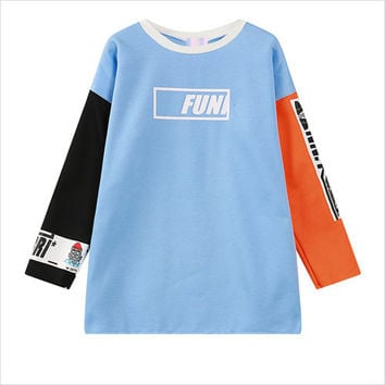 Blue Sleeve Graphic Cartoon Print Sweatshirt