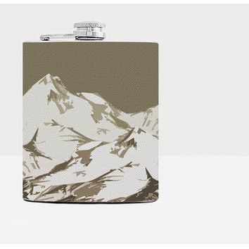 Mountains hip flask - Cool present - Gift for him, for her - Hip flask - Unique gift for men - Funny gift -Whiskey-Alcohol-Gray-Funny