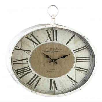 Vintage White Oval Wall Clock