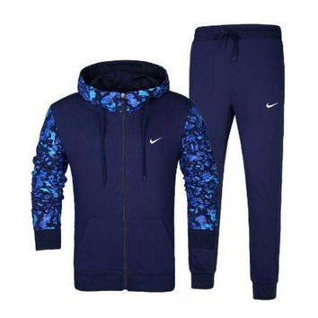 DCCKN7G NIKE Hooded Cardigan Jacket Coat Pants Trousers Set Two-Piece Sportswear