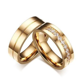 CREYCI7 2 model Trendy Wedding Bands Rings for Love Gold-color CZ Stone Stainless Steel Promise Jewelry