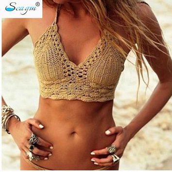 Sexy Handmade Crochet Bikini Cotton Crop Top bikinis Knitted Swimwear Women Bikini Brazilian Beach Swimsuit Cover Up 249