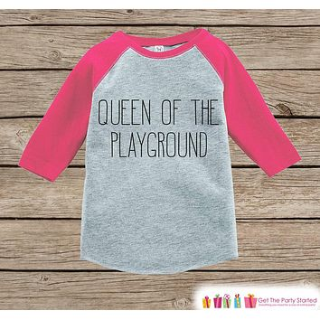 Kids School Outfit - Queen of the Playground - Pink Raglan - Humorous Girls Hipster Tee - Kindergarten, Preschook, Pre-K - Funny School Top