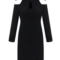 Black Cut-Out Long Sleeve Knitted Dress