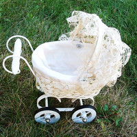 Vintage Doll Buggy Baby Carriage Collectible Antique Toy Wicker Wood Lace