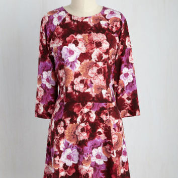 Isle Check It Out Floral Dress in Magenta Blooms