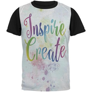 Inspire and Create Pastel Half Tone Art All Over Mens Black Back T Shirt