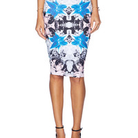 Multicolor Floral Printed Pencil Skirt