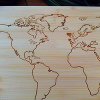 Personalized World Map Wood Cutting Board / Chopping Block Engraved Bamboo Custom Wedding, Anniversary or Engagement Gift
